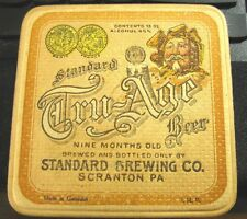"PRE-PRO STANDARD TRU AGE BEER - BREWING CO 4"" INCH COASTER SCRANTON PA UNLISTED"
