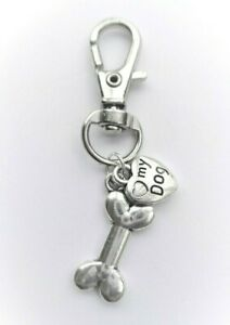 'LOVE MY DOG' CLIP ON BAG CHARM / KEYRING / DOG COLLAR CHARM - PET GIFT