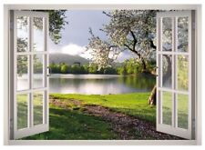 Flower Garden View Window 3D Wall Decal Art Mural Home Decor Canvas Vinyl W43