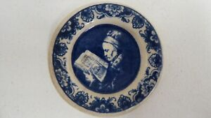 FLOW BLUE WHITE MINIATURE CHINA CERAMIC PORTRAIT PLATE DOLL HOUSE PICTURE PLATE