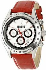 Versus by Versace SGC030012 Cosmopolitan Silver Dial Chronograph Date Red Watch