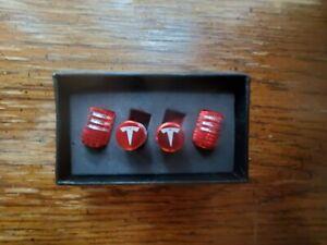 EVPRO Valve Stem Caps 4 Pack Red Fit for Tesla Model 3 S X Tire Decorative...