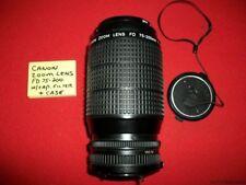 CANON ZOOM LENS FD 75-200mm 1:45 W/ 52mm SKYLIGHT 1A FILTER CAP & CASE ESTATE