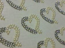12 x25mm Stick on HEART DIAMANTE PEARL  Self Adhesive AB Clear Rhinestone  Gems