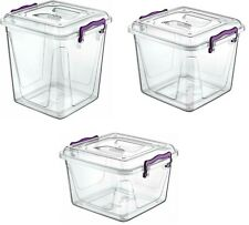 Heavy Duty Plastic Pantry Box Lid Clip Lock Food Container Storage Box Organiser