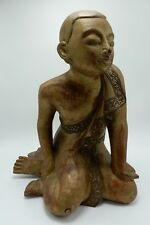 Vintage Indonesian Wood Carving Buddha Monk in Contemplation Gold Gilt Lacquer