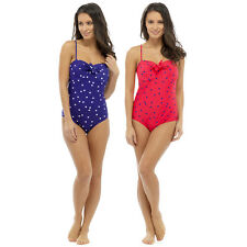 LADIES WOMANS SPOTTED TUMMY CONTROL SWIMSUIT PINK BLUE SUMMER POOL BEACH NEW