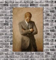 John Kennedy President Portrait Oil Painting Hand-Painted Art on Canvas