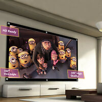 """100"""" Portable Fully 3D Projector Screen 16:9 Matte HD Home Cinema Movie Theater"""
