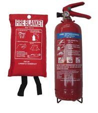 KITEMARKED 2KG POWDER FIRE EXTINGUISHER WITH FIRE BLANKET HOME OFFICE KITCHEN