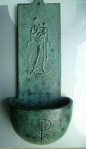 Weihwasserkessel Kunststube h. Föller Viersen Madonna mit Kind aus Bronze