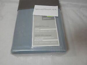 New Portico Organic Cotton King Blue Bedskirt 78x80+15 ~ Sprout Blue NIP