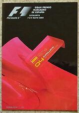 Gran Premio de España Formula Uno F1 2004 Catalunya Programa Oficial