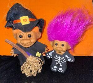 Halloween Trolls Witch & Skeleton Vintage RUSS 1990s