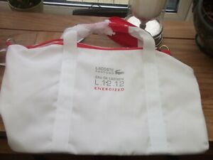 LACOSTE  WHITE  &  RED SPORT BAG    NEW