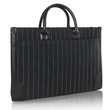 Unisex Stripes Business Case Briefcase Handbag Shoulder Tote Bag 2 Compartments