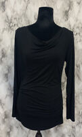 Adrianna Papell Size S Black Ruched Scoop Neck Long Sleeve Blouse