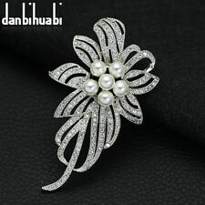 New Designed Wonder White Gold Plated Rhinestones Pearls Crystal Brooch Pin