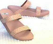 Fitflop 10 Lottie Chevron Suede Slide Sandals OYSTER PINK (Nearly Nude) NWOB