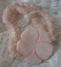 Super quality Rose Quartz and Shell Flower bracelet Corsage  Prom with Style!