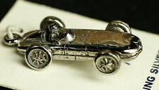 .925 STERLING SILVER RACE CAR OLD VINTAGE PINE WOOD 3D INDY  CHARM