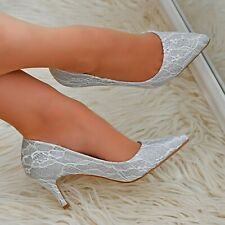 Womens Floral Lace High Heel Pointed Toe Evening Dress Occasion Court Shoes Size