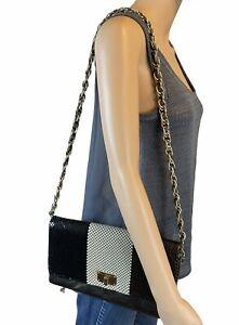 Elliot Lucca Flap Shimmer Print Leather Crossbody Bag Purse Handbag Gold Black