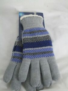 NWT Isotoner Knit Gloves Fleece Lined Gray Lue OS Smart Dri Repes Water  NWT