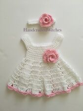 Crocheted Baby Dress, handmade baby outfit  (0-3 Months) Set of dress & headband