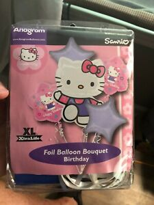 5 pc Hello Kitty Tween Balloon Bouquet Party Happy Birthday Girl Sanrio
