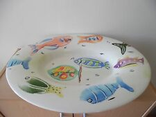 LARGE CERAMIC PLATTER SHAPED BOWL~FISH~HANDPAINTED~ITALY~ANTICA FORNACHE