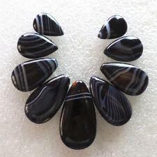 9pcs Interesting Black Onyx Agate Teardrop Pendant Bead Set