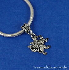 Silver GRIFFIN Dangle Bead CHARM Griffon Gryphon fits EUROPEAN Bracelet