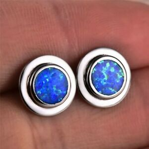 NEU schlichte und elegante 925 Silber Ohrstecker, blau Feueropal