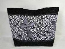 NWT Black & White Leopard Print w/ Rhinestone Cross Large Diaper Tote Bag Purse