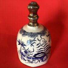New ListingBlue Onion Pattern Porcelain Dinner Bell Enesco 4� Vintage Gold Trim