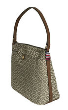 TOMMY HILFIGER Logo Signature Hobo Handbag Purse, Brown,  NWT $88
