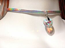 SILVER RAINBOW PRISMATIC CHOKER W/ GLASS HEART PENDANT holographic necklace 1W
