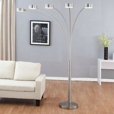 Micah Plus LED Arched Floor Lamp with Dimmer, Brushed Steel