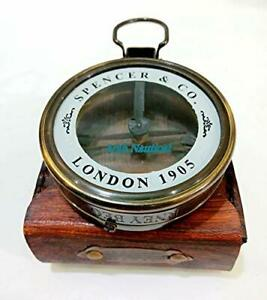 Brass Sundial Compass with leather Case-Antique Lence Compass-reading compass