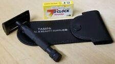 Safety Razor Double Edge Shaving German Steel Handle + Blades Travel Kit
