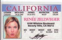 Renee Zellweger  novelty collectors id card Drivers License
