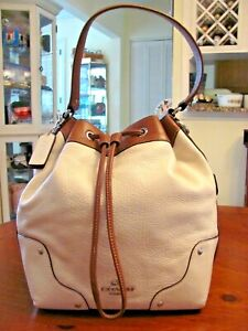 AMAZING 'COACH' NEW YORK TAN & BROWN PEBBLED LEATHER DRAWSTRING BUCKET BAG EXC