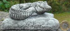 Crocodile Rock Stone Garden Ornament Hand Cast 14 x 9 x 6 cms  860 grams