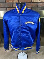 Vintage Starter Milwaukee Brewers MLB Baseball Satin Snap Jacket Mens Small Blue