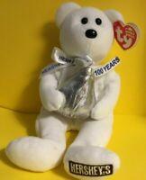 Hershey's BEAR named HUGSY, TY BEANIE, w/Kiss + neck Ribbon, 100TH ANNIVERSARY-