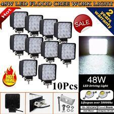 10Pcs 48W Cree LED WORK LIGHT BAR FLOOD BEAM LAMP OFFROAD TRACTOR TRUCK 12V SUV