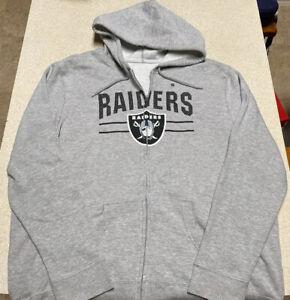Fanatics Oakland Raiders Big Logo Full Zip Fleece Hoodie Jacket Men's Size Large