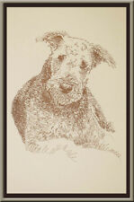 Airedale Terrier dog art portrait drawing Print 78 Kline adds dog's name free.
