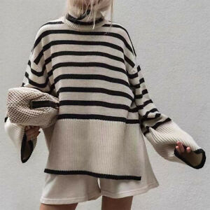 Toteme Oversized Striped Wool and Cotton Blend Turtleneck Sweater Jumper $580